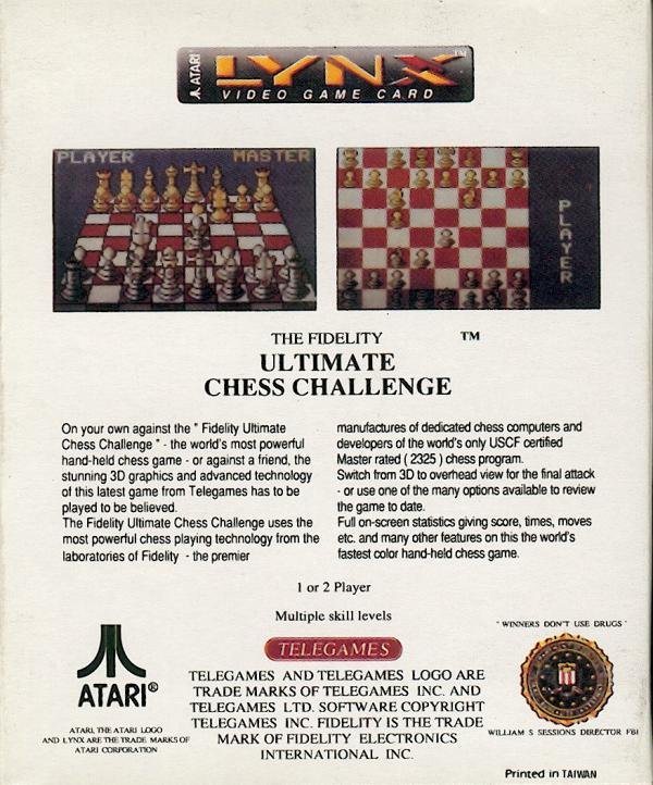 Fidelity Ultimate Chess Challenge - Box Back