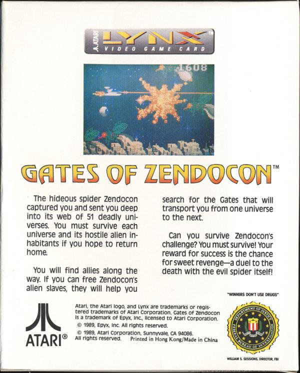 Gates of Zendocon - Box Back