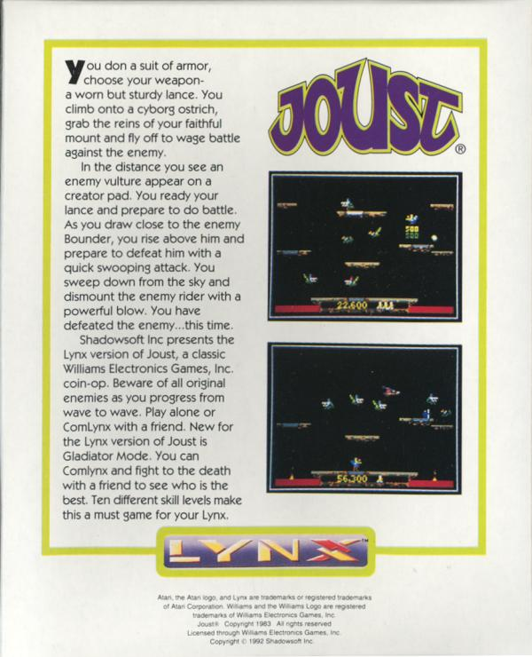 Joust - Box Back