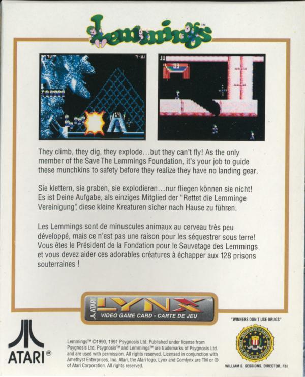 Lemmings - Box Back