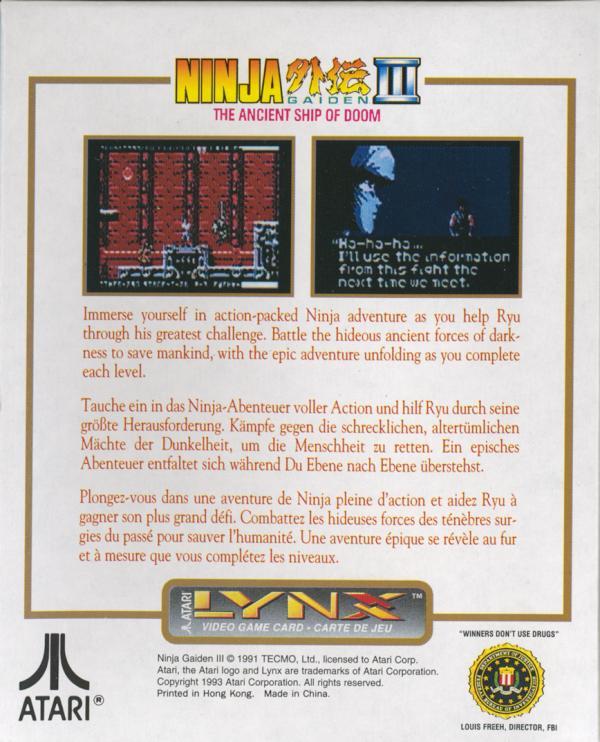 Ninja Gaiden III: Ancient Ship of Doom - Box Back