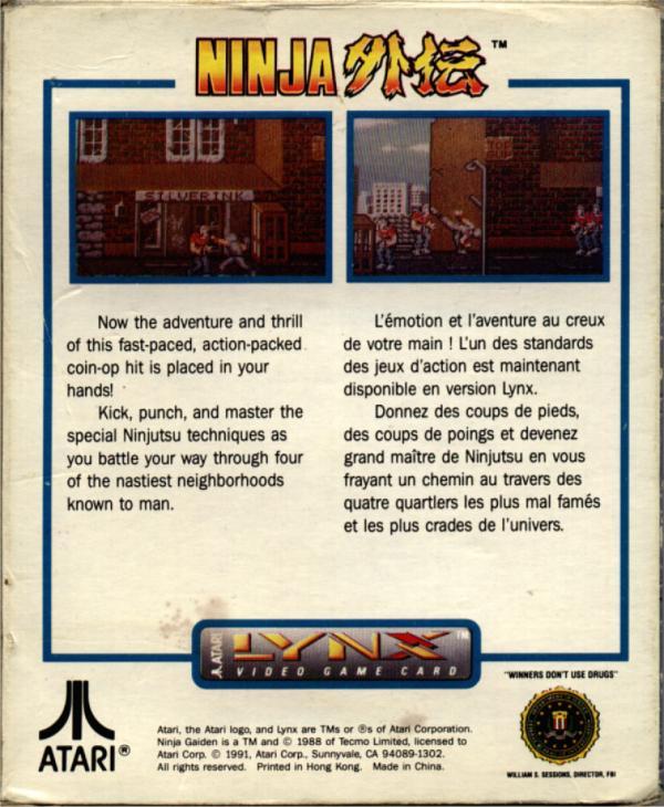 Ninja Gaiden - Box Back