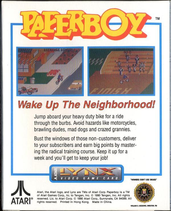 Paperboy - Box Back