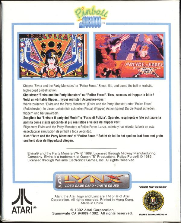 Pinball Jam - Box Back