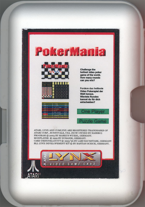 PokerMania - Box Back