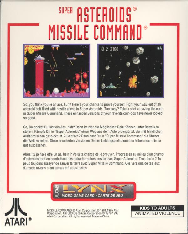 Super Asteroids & Missile Command - Box Back