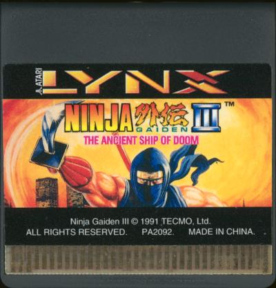 Ninja Gaiden III: Ancient Ship of Doom - Cartridge Scan