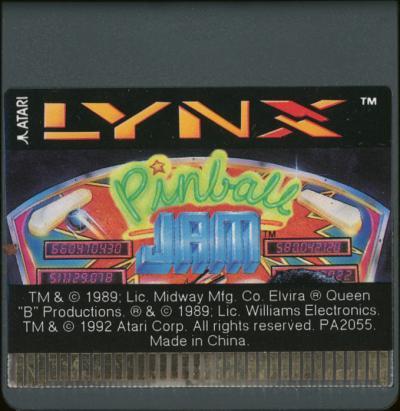 Pinball Jam - Cartridge Scan