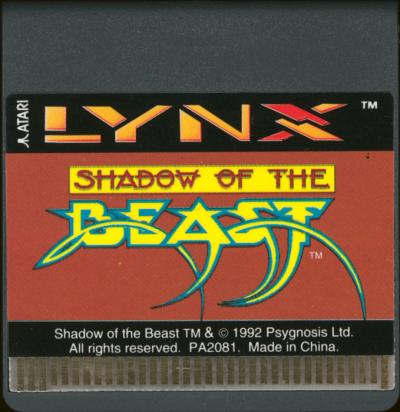 Shadow of the Beast - Cartridge Scan