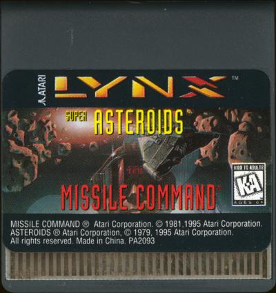 Super Asteroids & Missile Command - Cartridge Scan