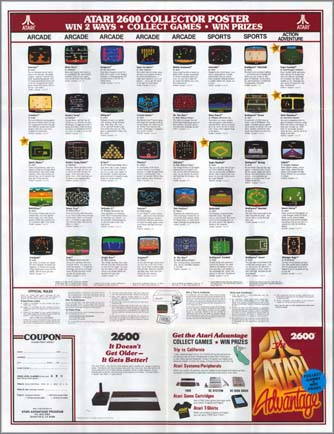 Page 1, Asteroids, Battlezone, Centipede, Crossbow, Crystal Castles, Dark Chambers, Defender II, Desert Falcon, Donkey Kong, Donkey Kong Junior, Galaxian, Gravitar, Joust, Jr. Pac-Man, Jungle Hunt, Kangaroo, Mario Bros., Midnight Magic, Millipede, Missile Command, Moon Patrol, Mouse Trap, Ms. Pac-Man, Phoenix, Pole Position, Q*bert, RealSports Baseball, RealSports Basketball, RealSports Boxing, RealSports Football, RealSports Soccer, RealSports Tennis, RealSports Volleyball, Solaris, Space Invaders, Sprintmaster, Super Baseball, Super Football, Vanguard, Venture