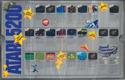 Page 4, Centipede, Countermeasure, Defender, Dig Dug, Galaxian, Joust, Jungle Hunt, Kangaroo, Missile Command, Moon Patrol, Ms. Pac-Man, Pac-Man, Pengo, Pole Position, Qix, Realsports Baseball, Realsports Basketball, Realsports Football, Realsports Soccer, Realsports Tennis, Robotron: 2084, Space Dungeon, Space Invaders, Sport Goofy, Star Raiders, Tempest, Vanguard