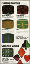 Page 6, Dodger Cars, Maze Mania, Night Driver, Poker Plus, Race, Speedway II