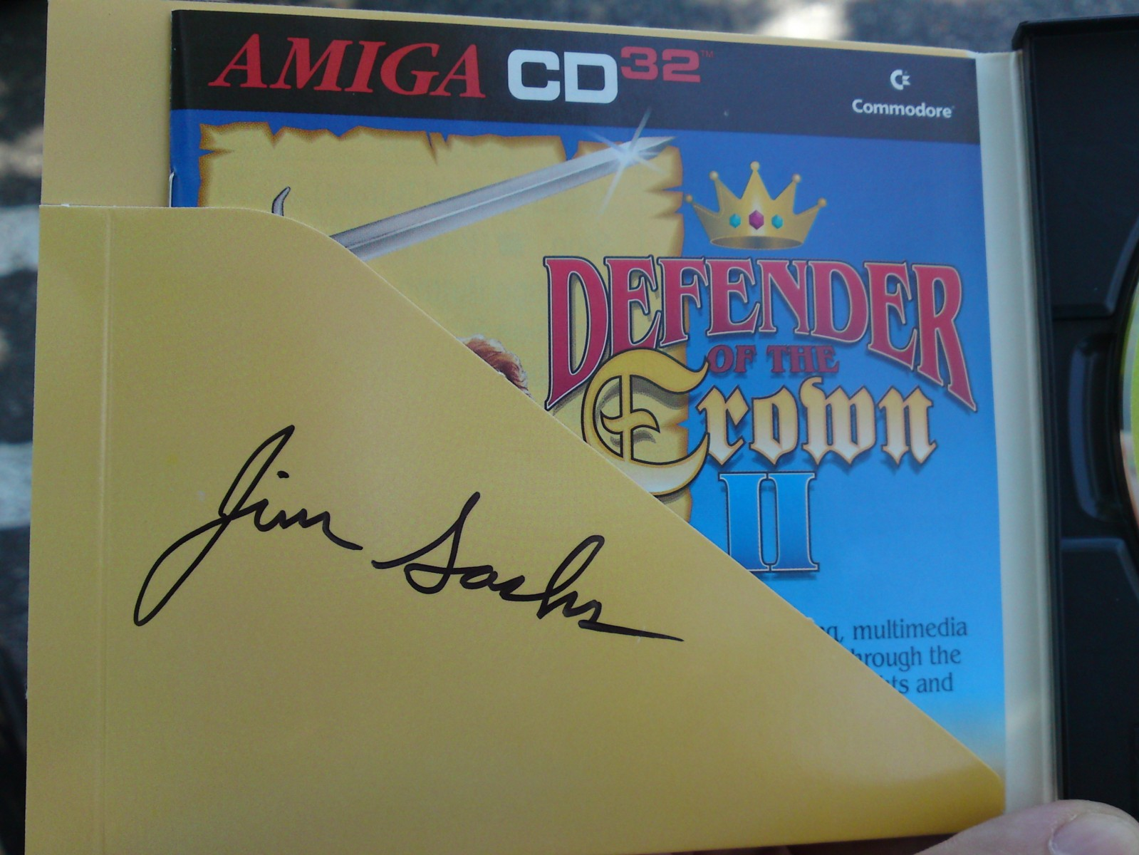 """""""Defender of the Crown II"""" for CD32 signed by Jim Sachs"""