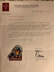 Astronomer High Score Patch and Letter