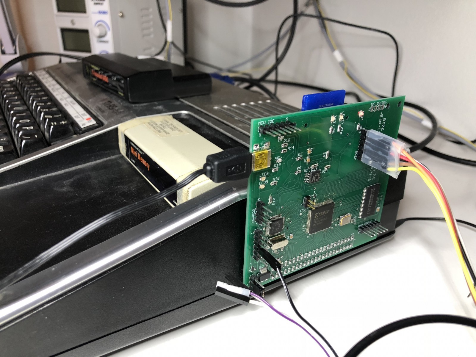 ET-PEB first prototype being tested and debugged - side view