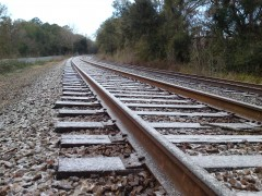 Ice and snow accumulation on railroad tracks in Tallahassee