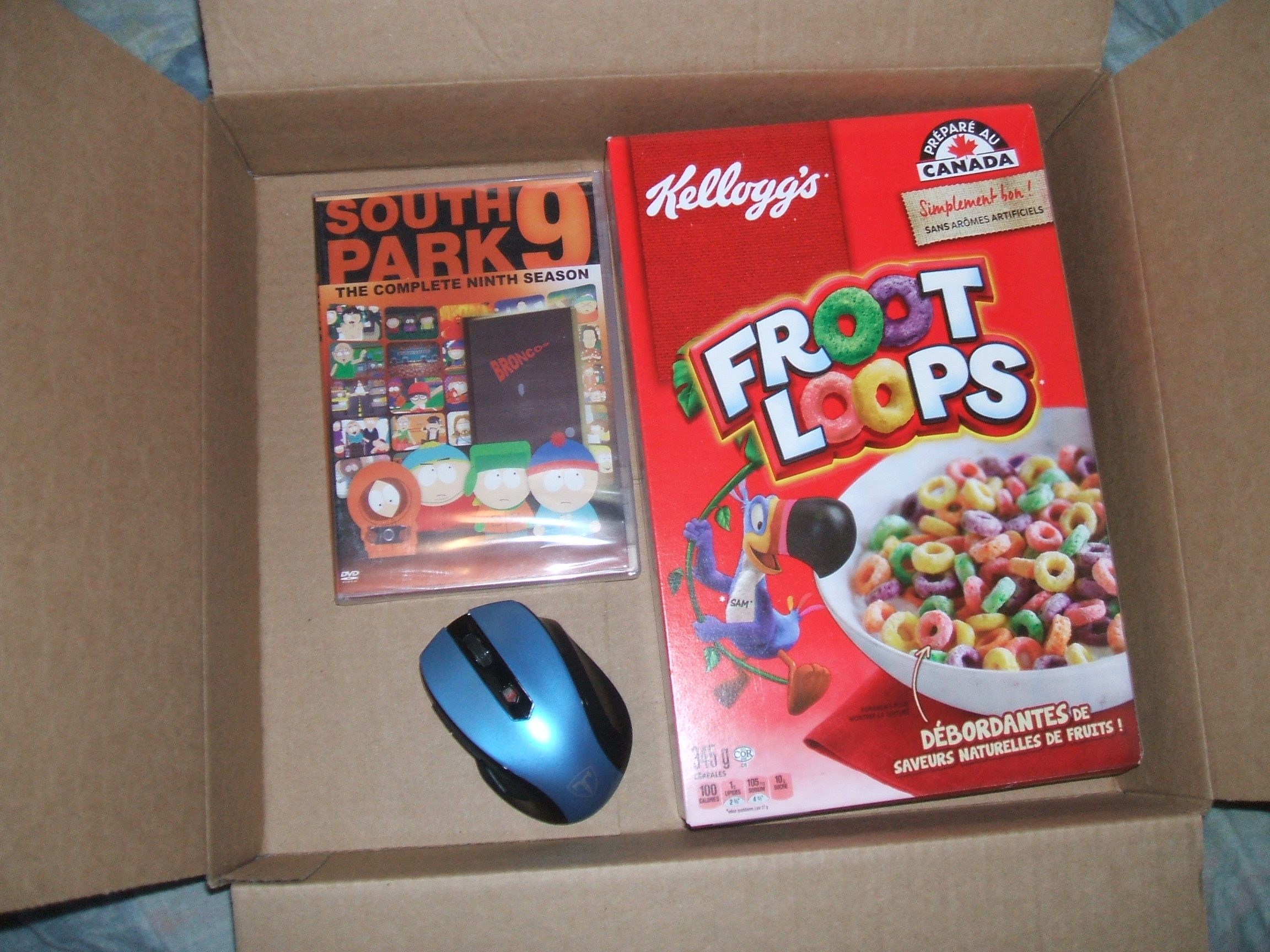I got Mouse, South Park season 9, Froot Loops cereal from mail