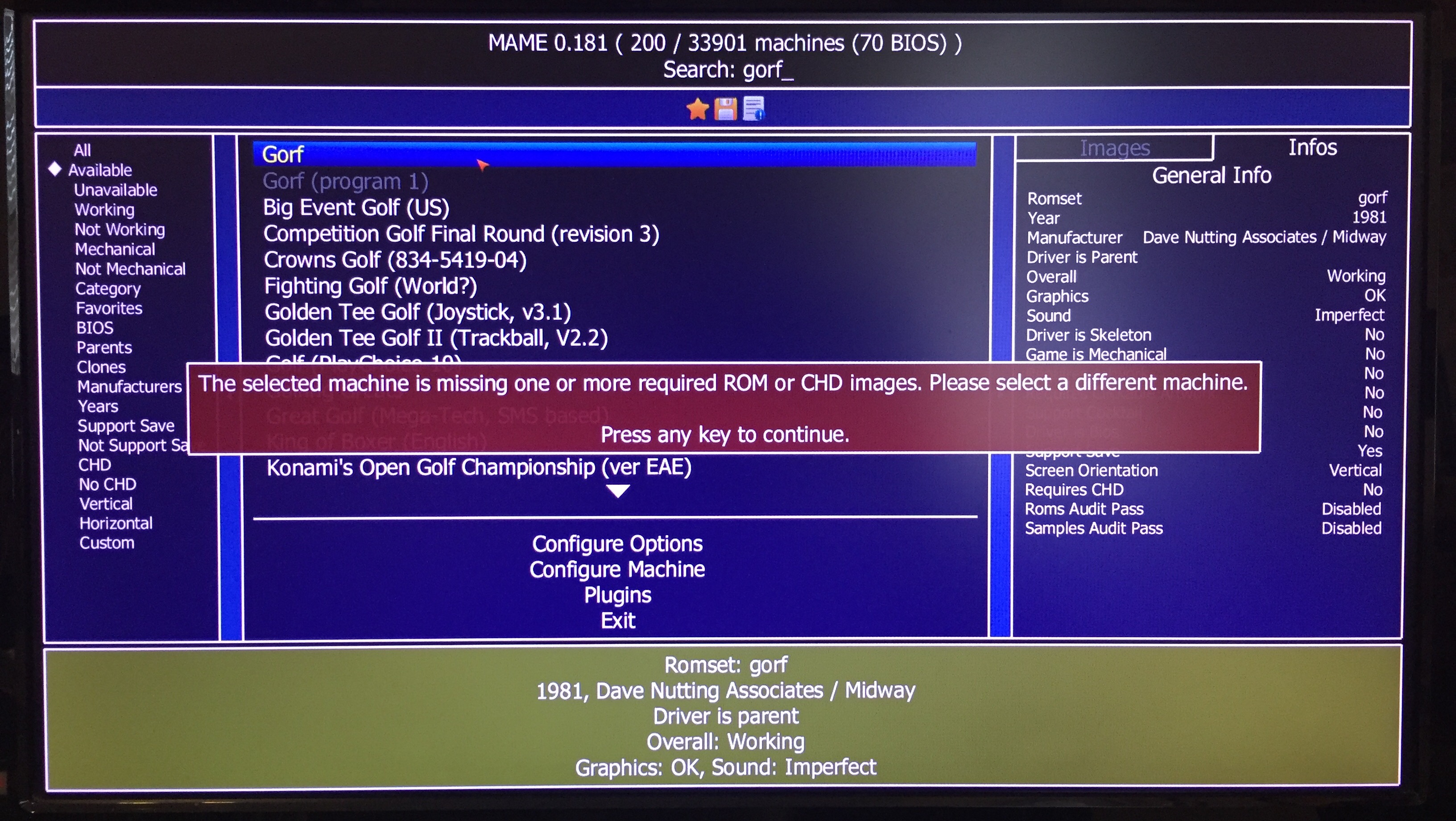 mame missing one or more rom chd images