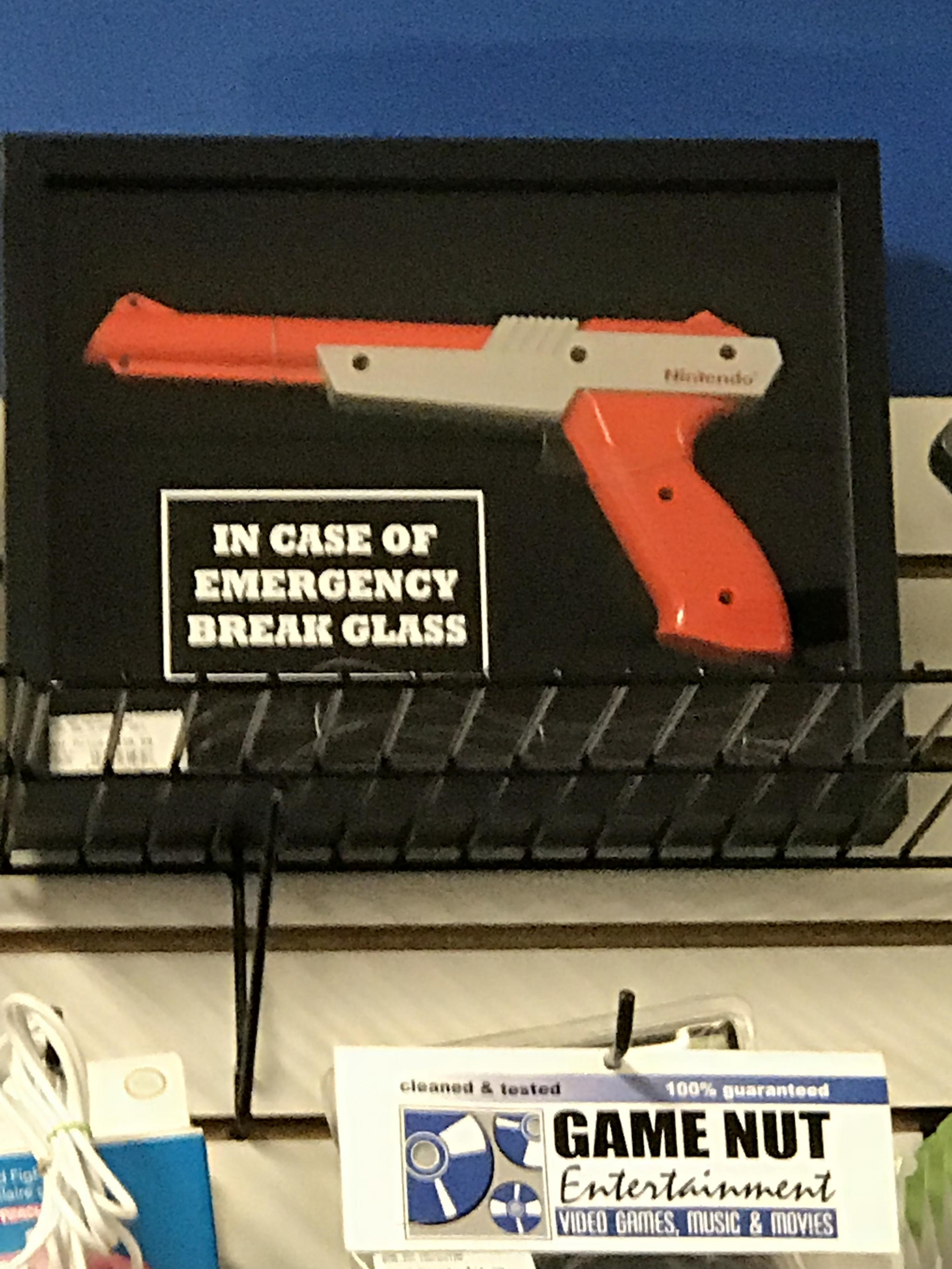 In Case Of Emergency Break Glass Nes Zapper Inside Classic