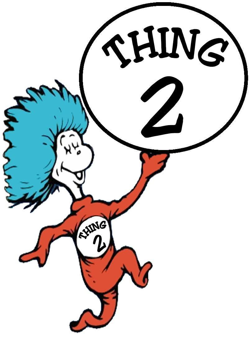 Striking image in thing 1 and thing 2 printable clip art