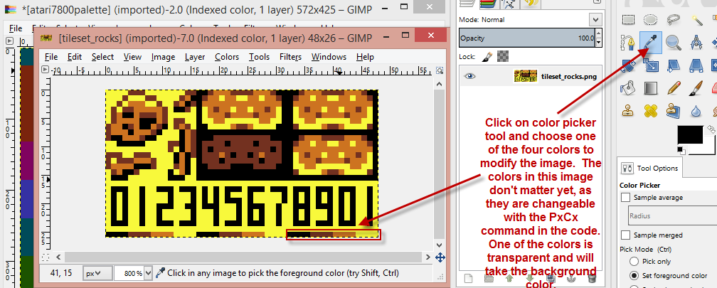 Creating 7800basic compatible graphics images with Gimp