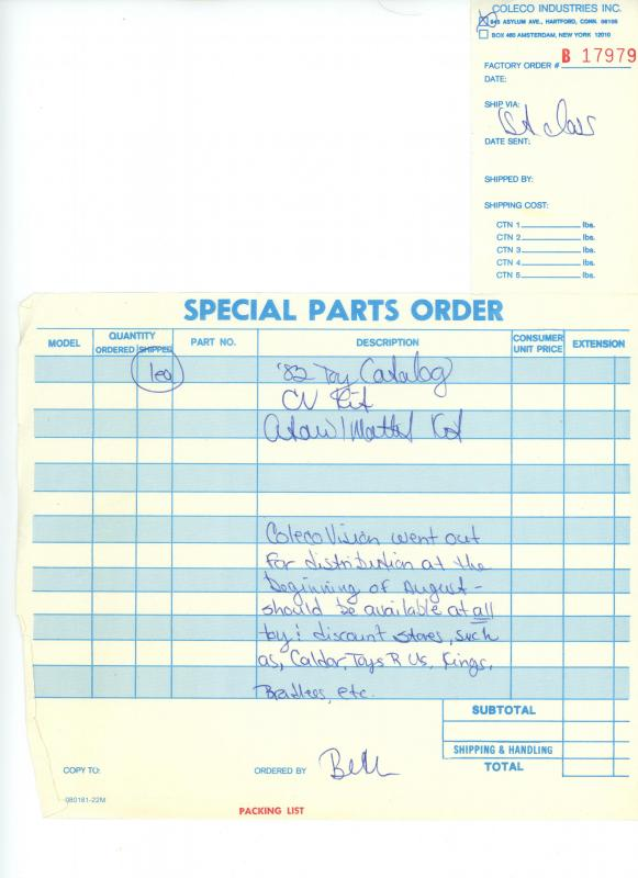 Coleco 1982 packing list form.jpg