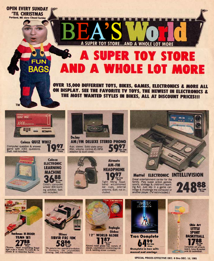 Toy R Us Store Catalog : Vintage child world toy store sales ad with tron