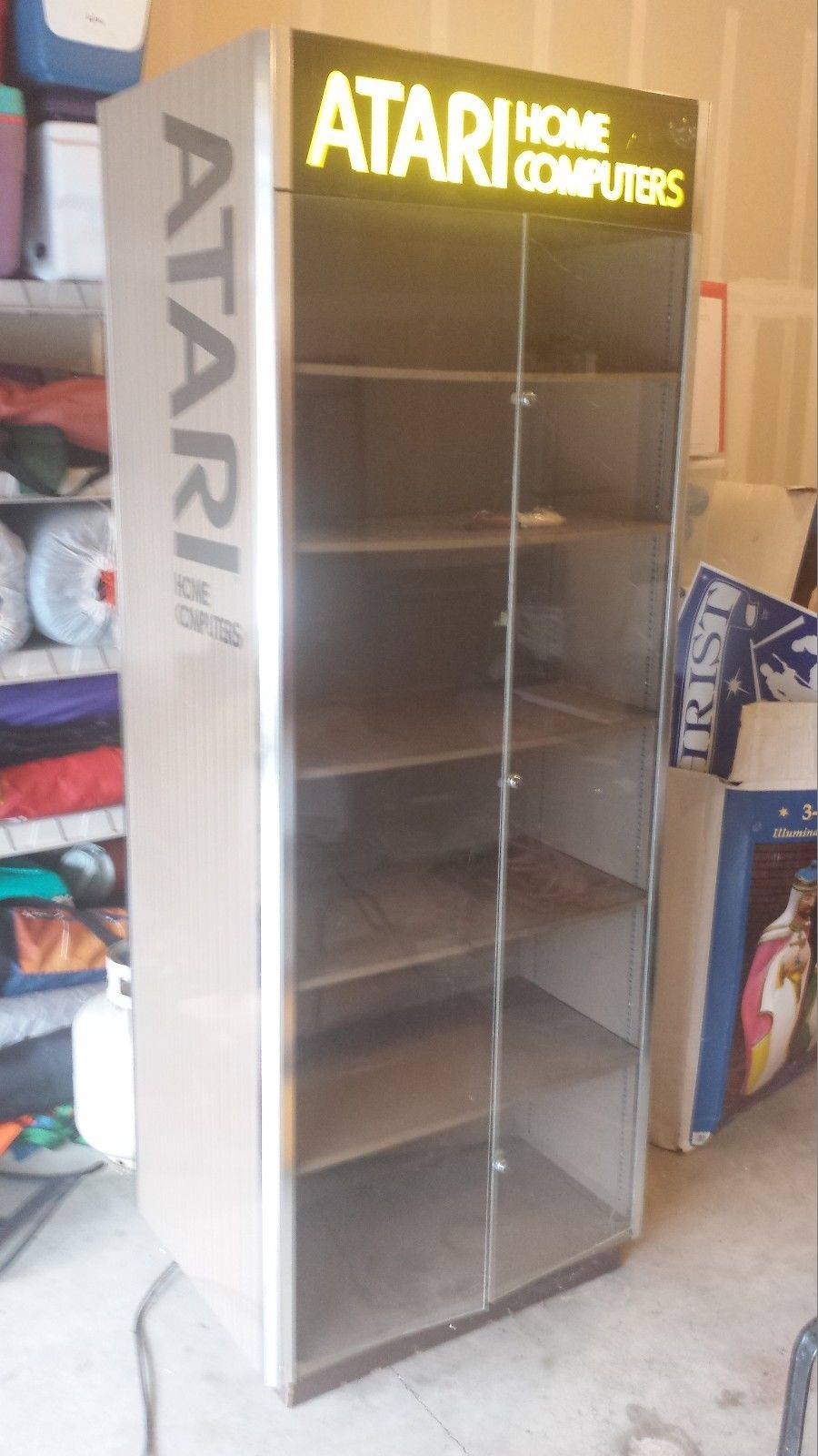 wanted atari home computer kiosk store display cabinet