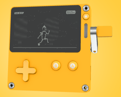 A black and white handheld with a crank?