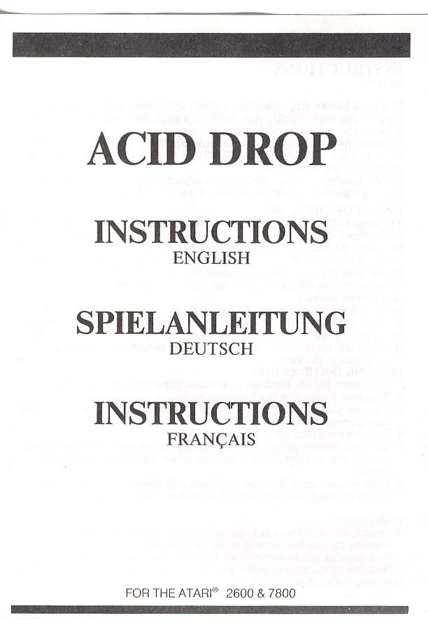 Acid Drop Manual Scan - Rarity Guide - AtariAge Forums